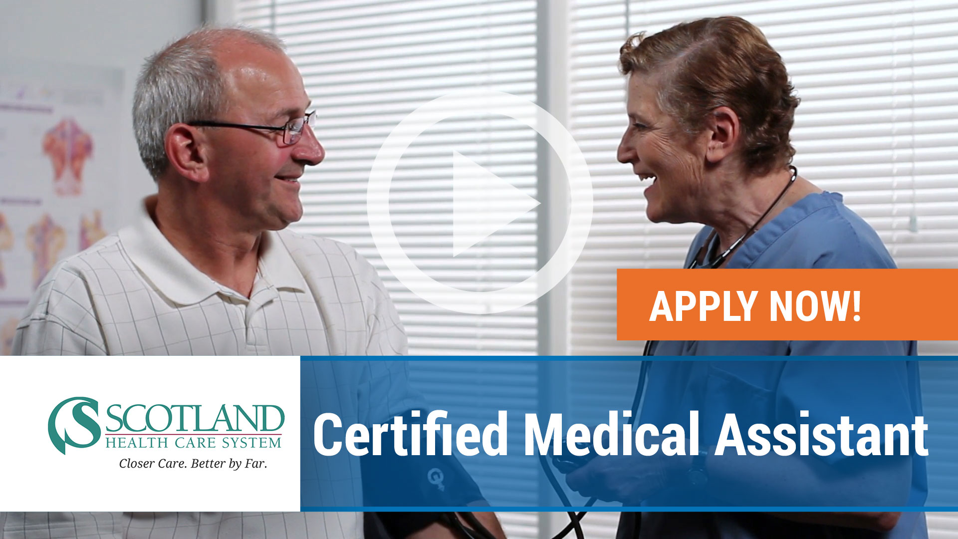 Watch our careers video for available job opening Certified Medical Assistant for Scotland Health Care System in Laurinburg, North Carolina