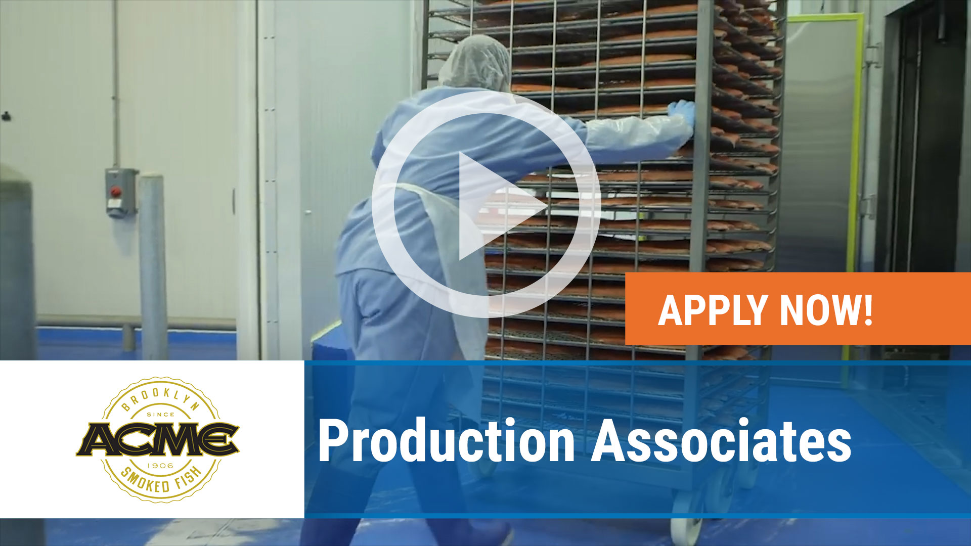 Watch our careers video for available job opening Production Associates for Acme Smoked Fish in Wilmington, NC