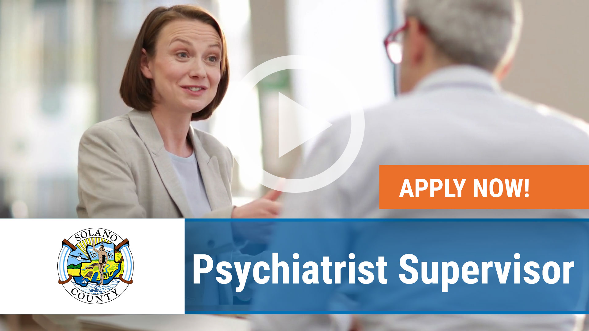 Watch our careers video for available job opening Psychiatrist Supervisor in Fairfield, California