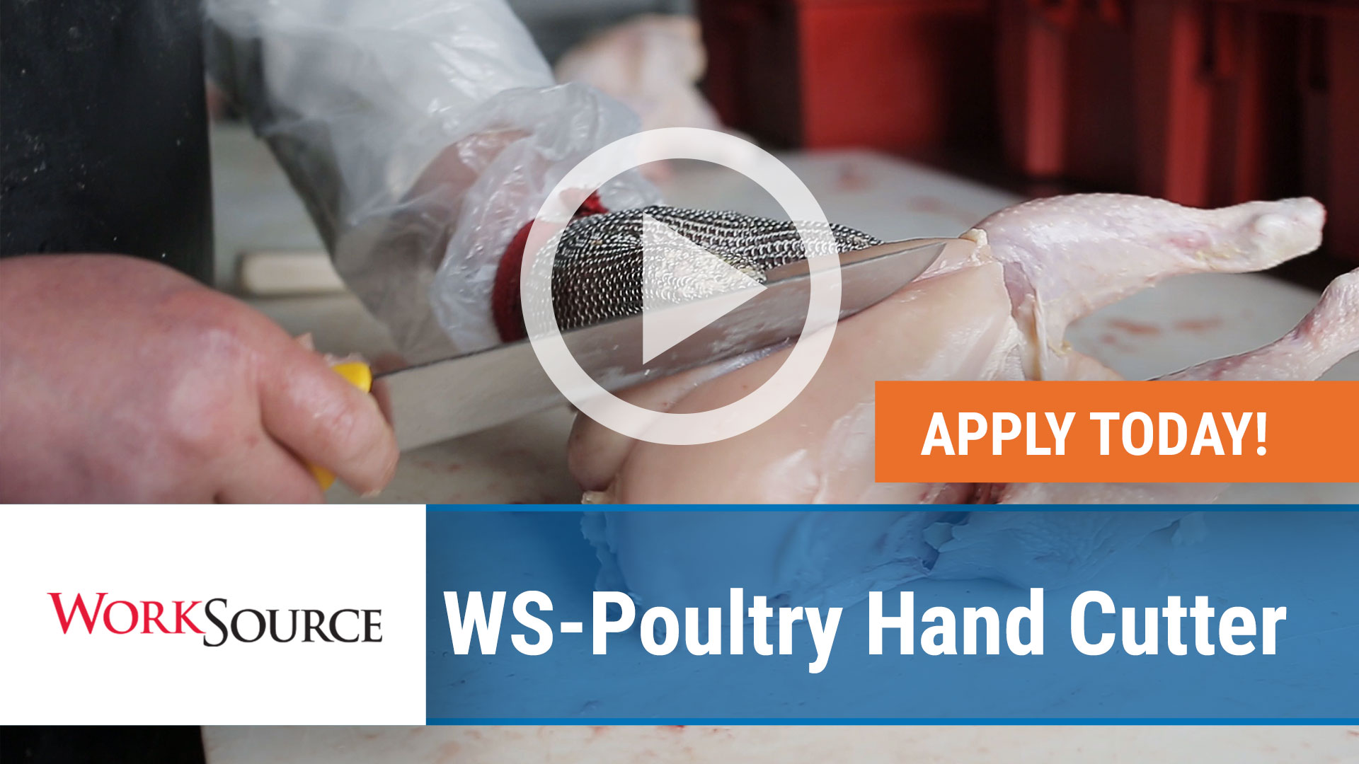 Watch our careers video for available job opening WS Poultry Hand Cutter in Huntsville,Arkansas. USA