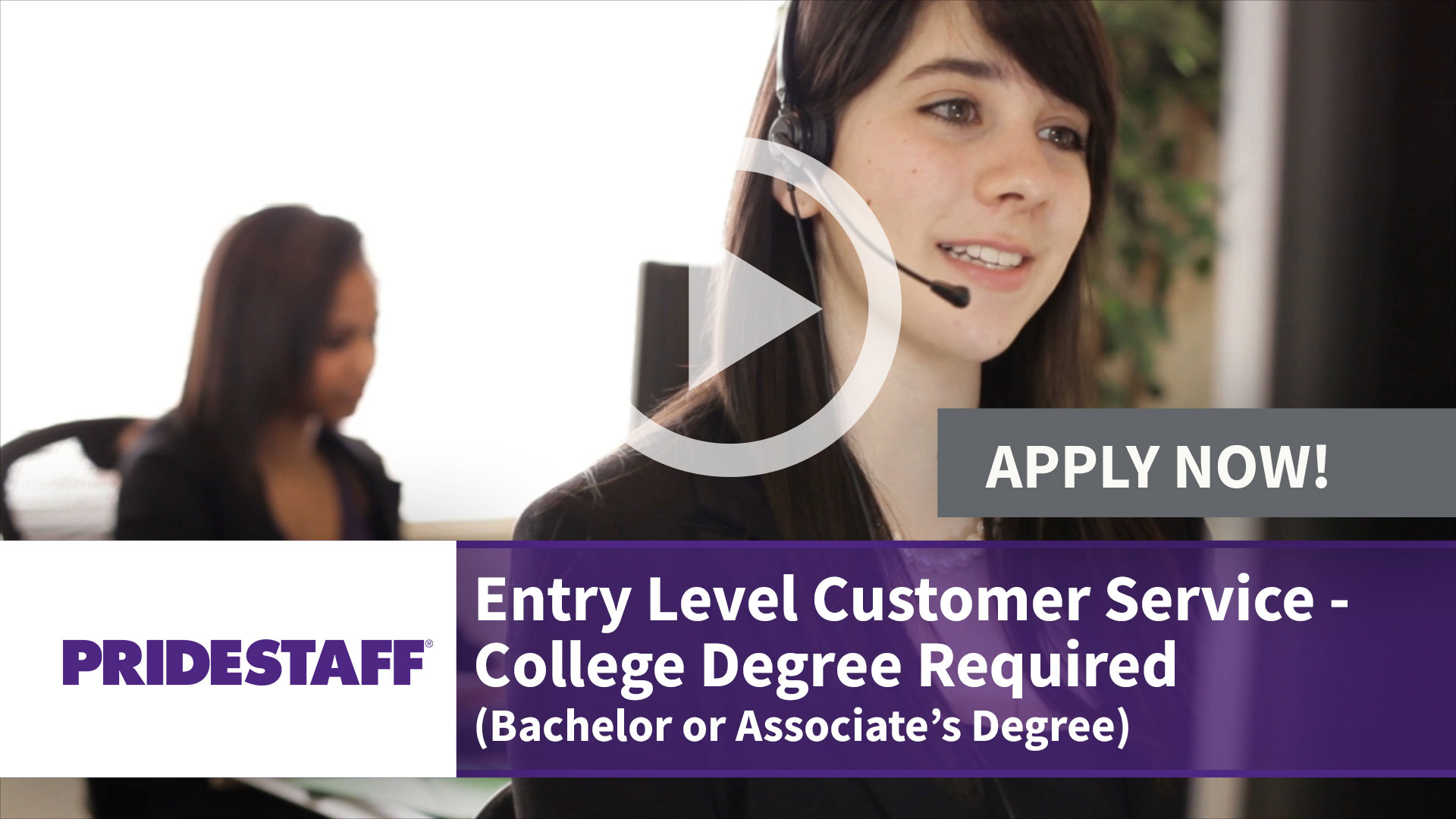 Watch our careers video for available job opening Entry Level Customer Service - College Degree Required - Bachelor or Associates Degree  in Irving, Texas