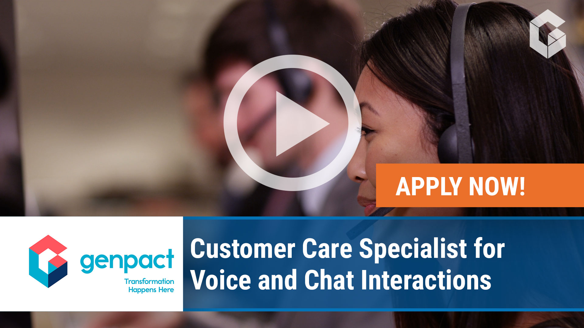 Watch our careers video for available job opening Customer Care Specialist for Voice and Chat Inter in Richardson, Texas