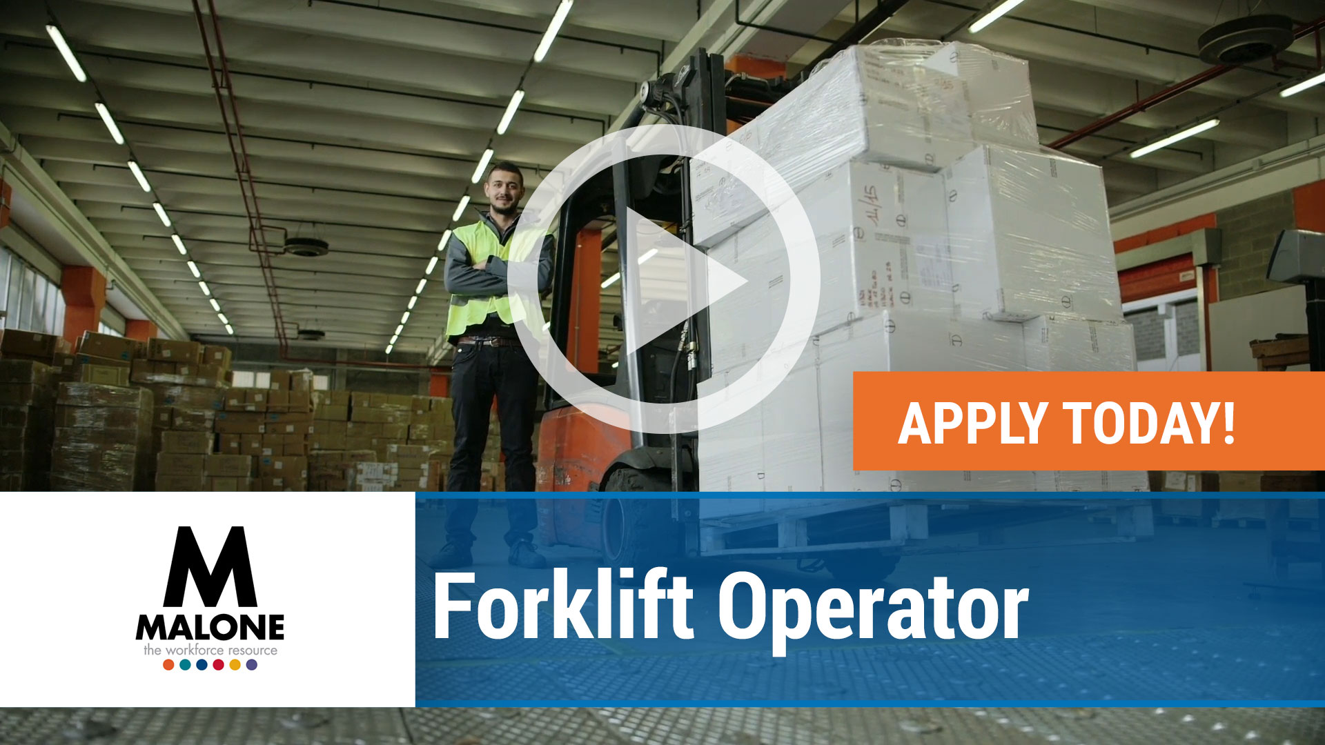 Watch our careers video for available job opening Forklift Operator in Addison, Illinois
