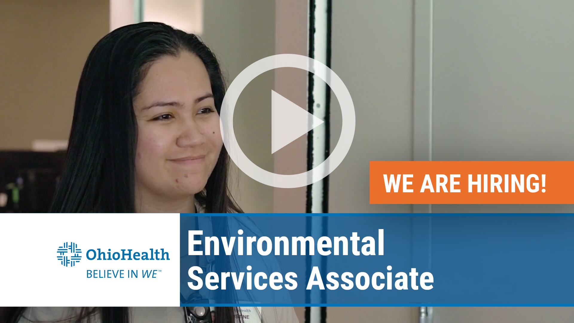 Watch our careers video for available job opening Environmental Services Associate in Columbus, OH