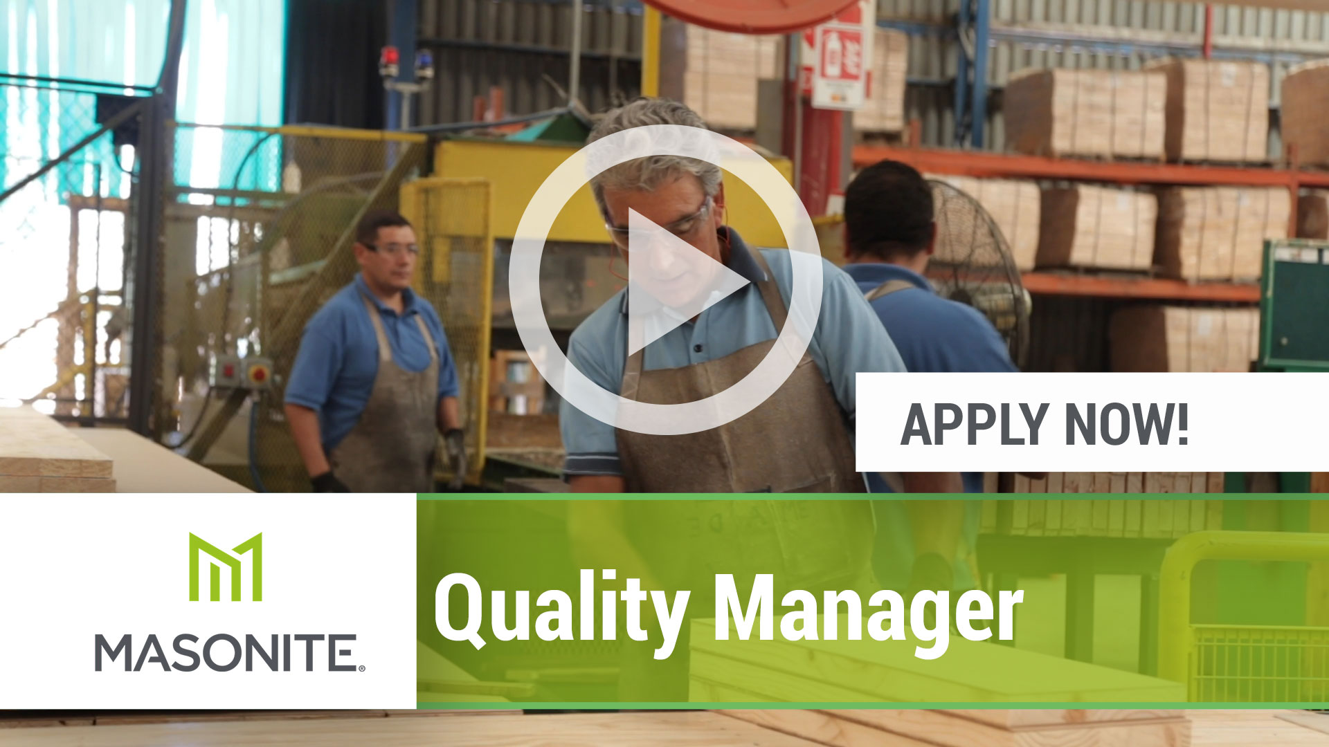 Watch our careers video for available job opening Quality Manager in Varies