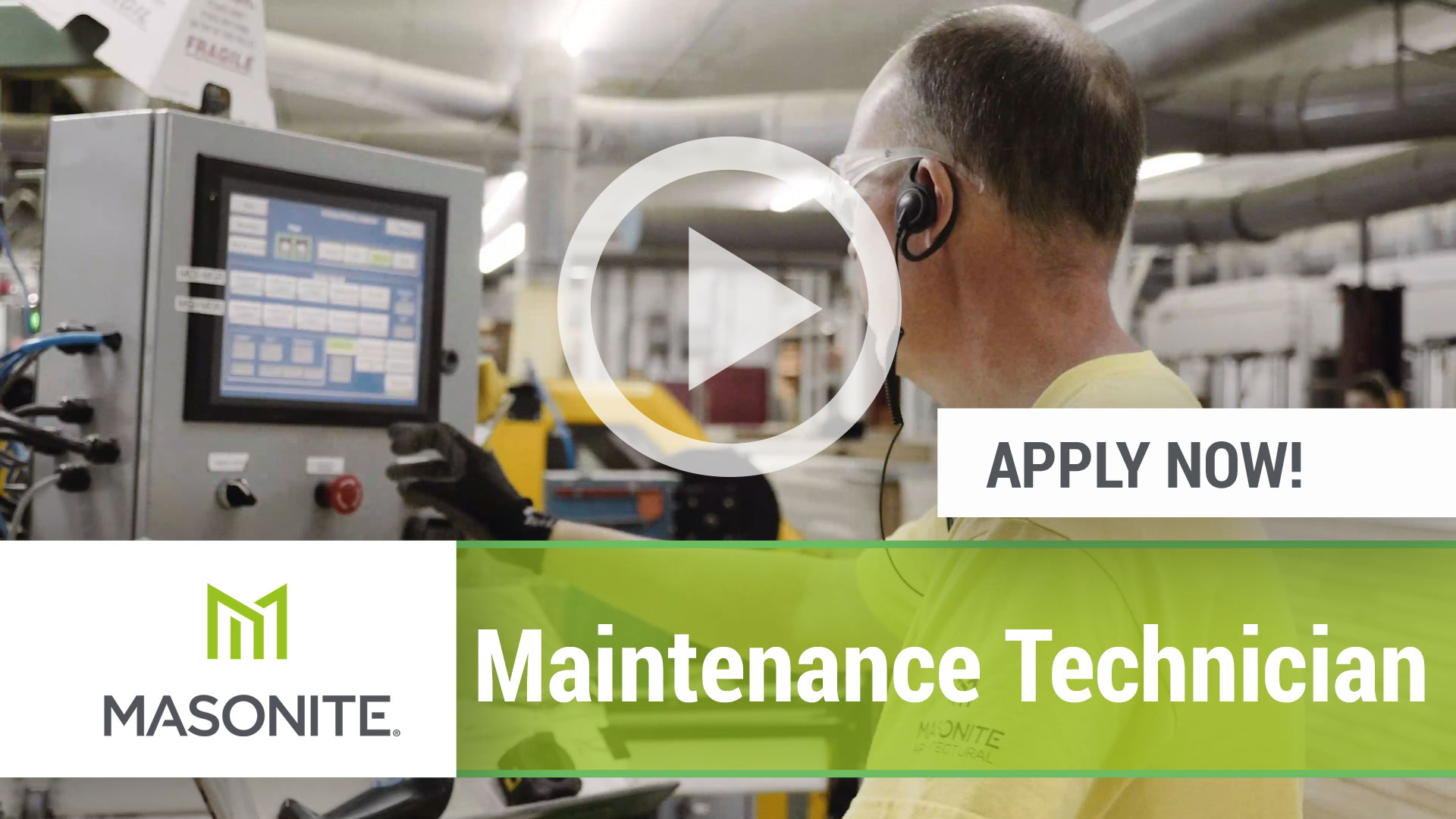 Watch our careers video for available job opening Maintenance Technician in Varies