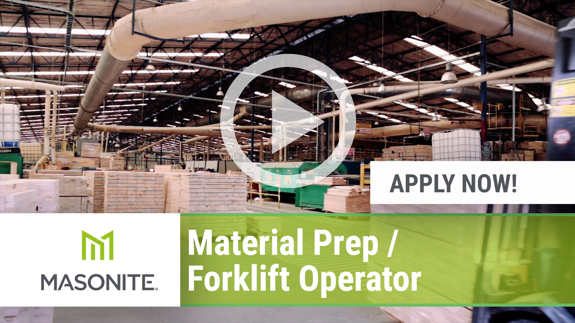 Watch our careers video for available job opening Material Prep _ Forklift Operator in Northumberland, PA, USA