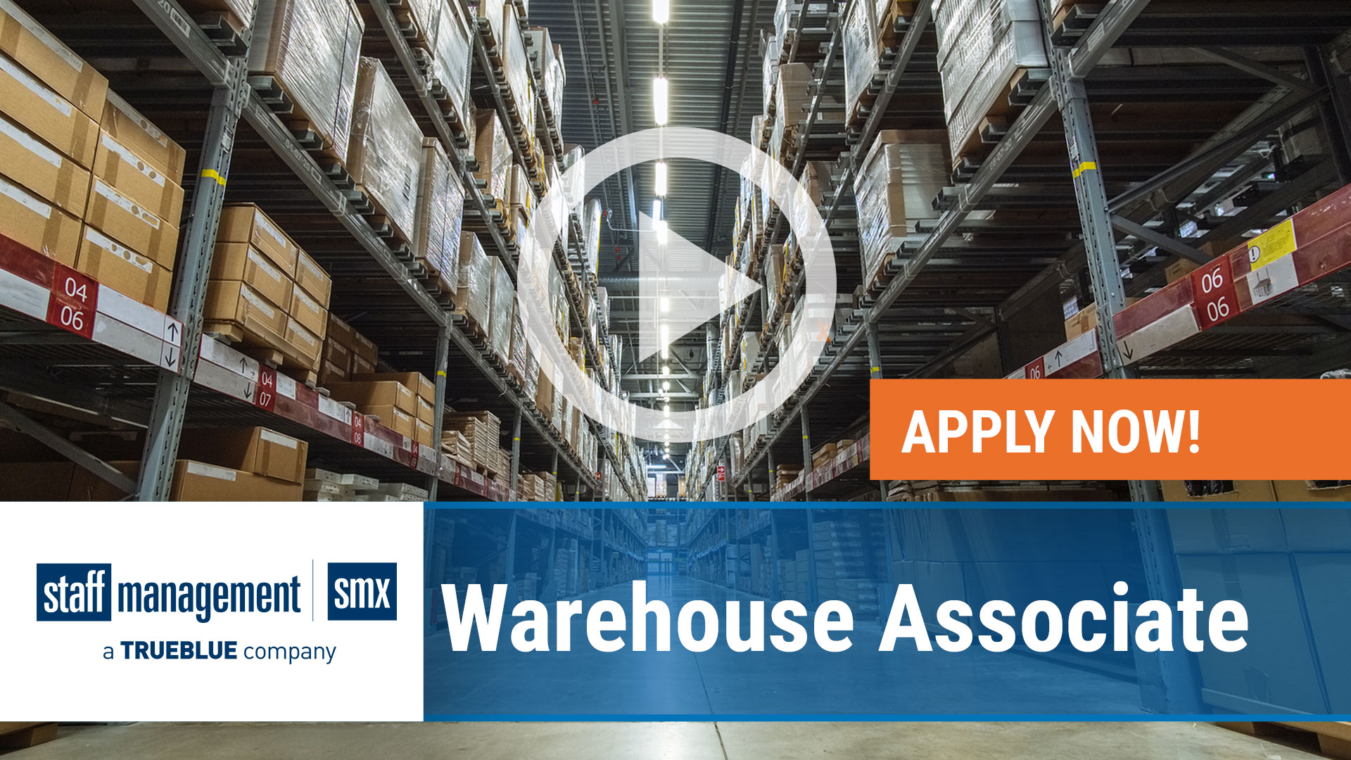Watch our careers video for available job opening Warehouse Associate in USA