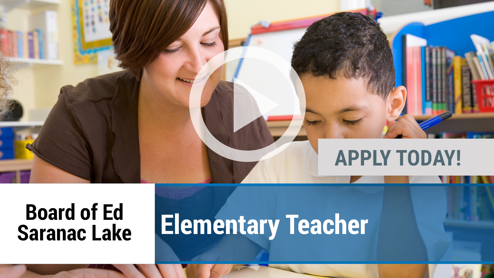 Watch our careers video for available job opening Elementary Teacher in Saranac Lake, NY