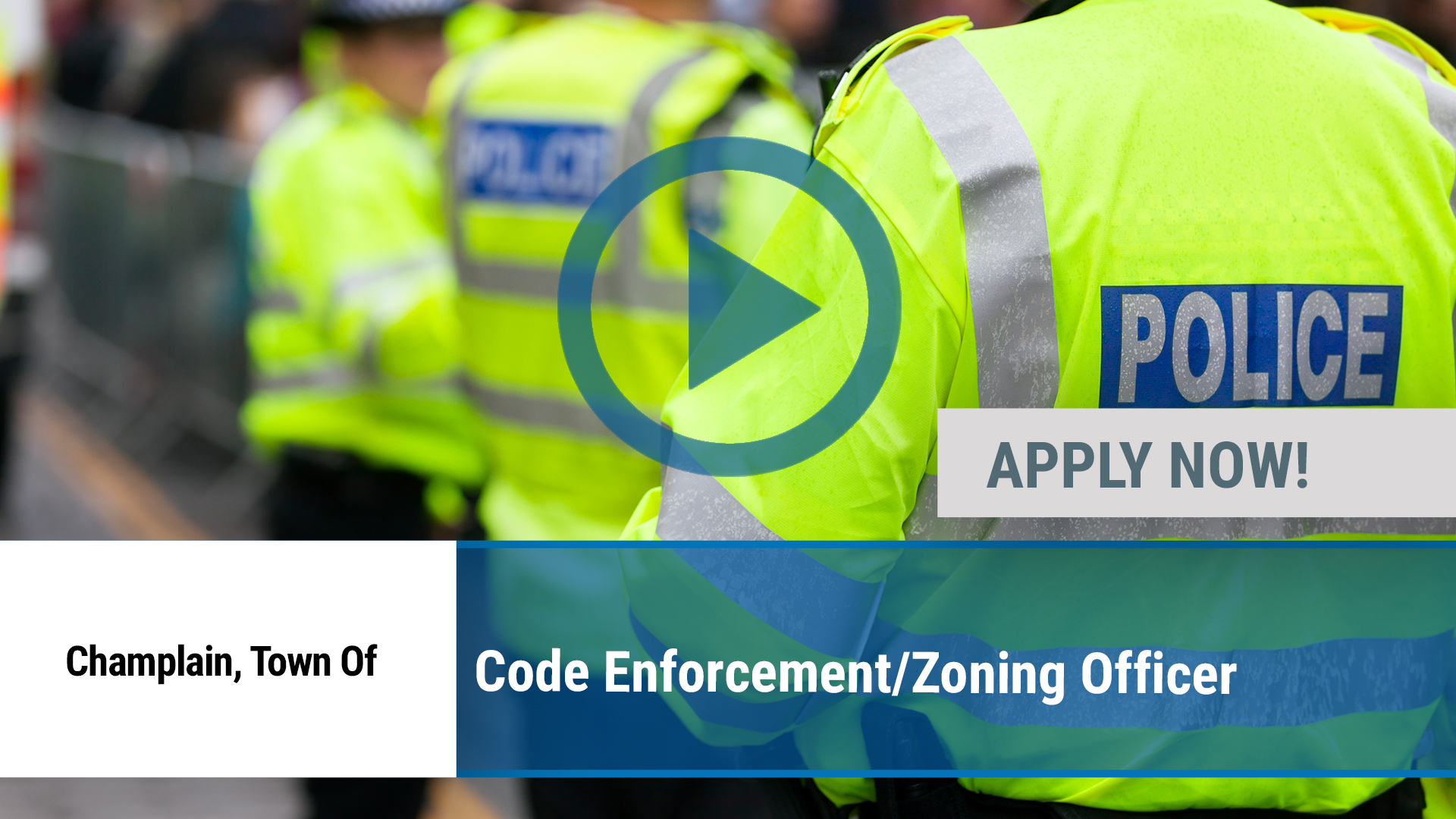 Watch our careers video for available job opening Code Enforcement_Zoning Officer in Champlain, NY
