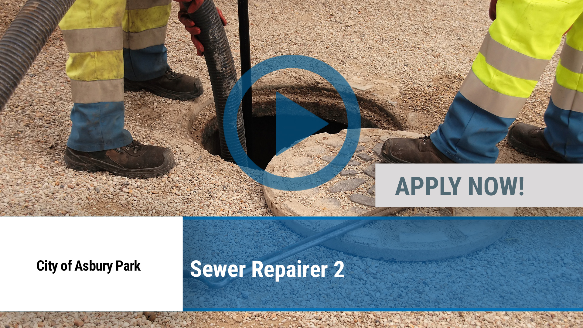 Watch our careers video for available job opening Sewer Repairer 2 in Asbury Park, NJ