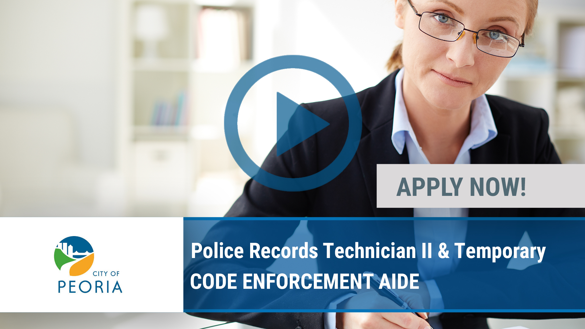 Watch our careers video for available job opening Police Records Technician II & Temporary CODE ENF in Peoria, IL
