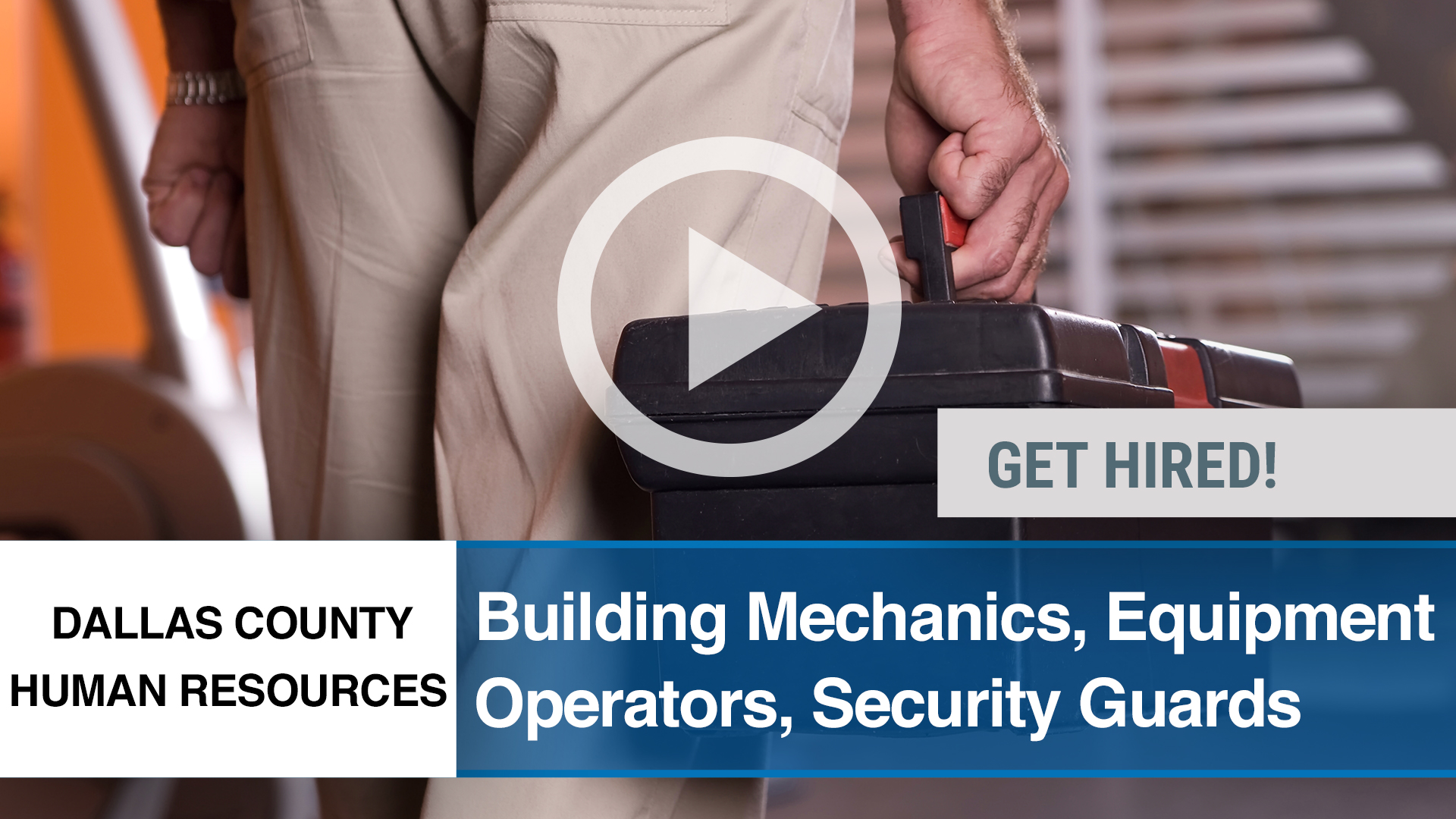 Watch our careers video for available job opening Building Mechanics, Equipment Operators, Security in Dallas, TX