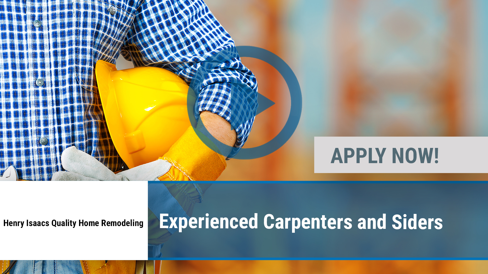 Watch our careers video for available job opening Experienced Carpenters and Siders in Churchville, NY