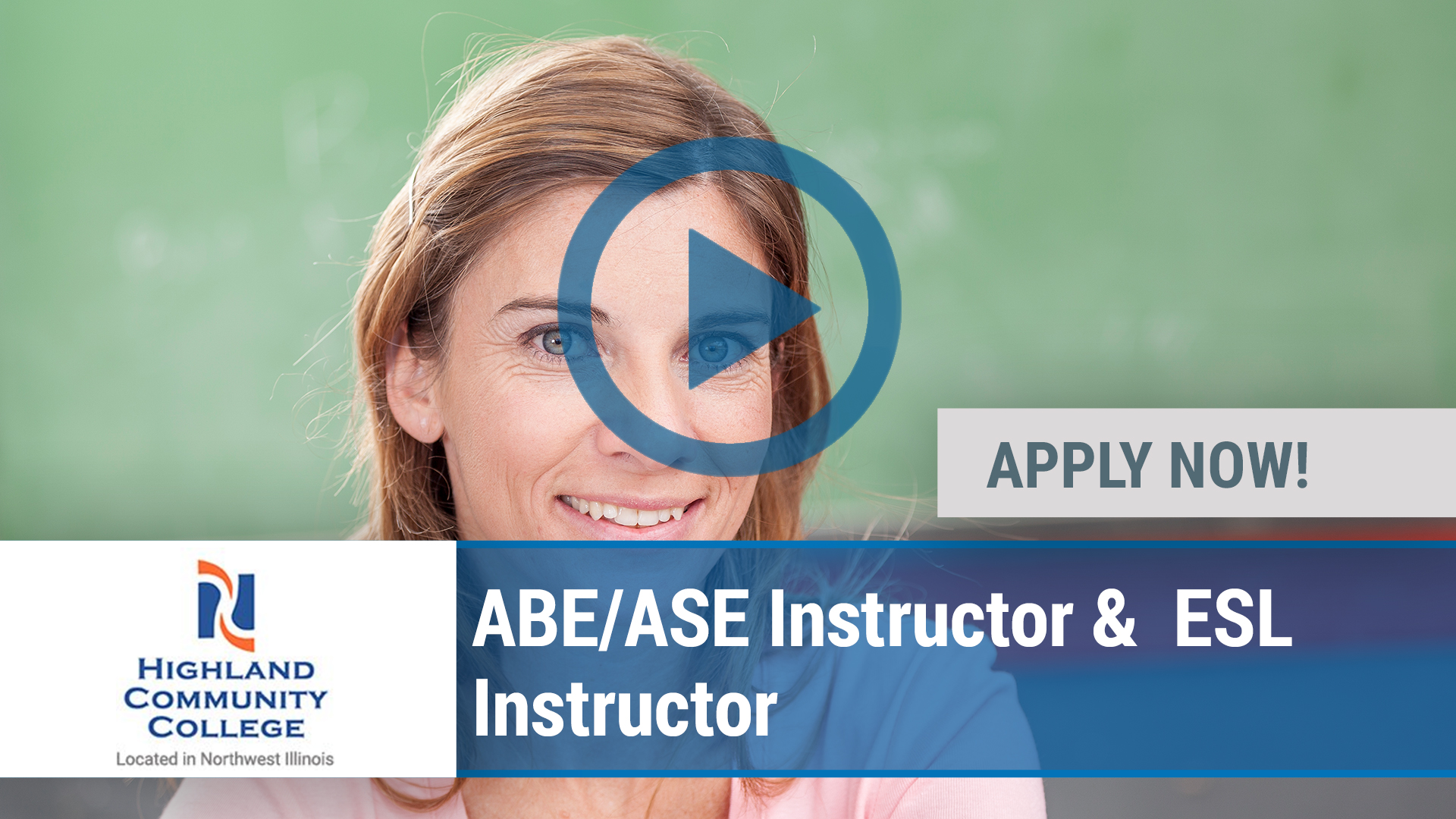 Watch our careers video for available job opening ABE_ASE Instructor &  ESL Instructor in Freeport, IL