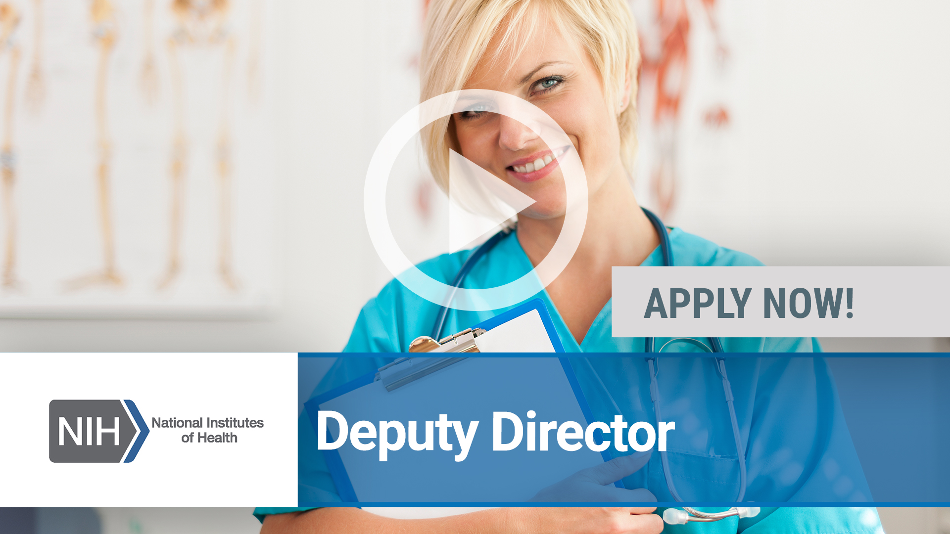 Watch our careers video for available job opening Deputy Director for the National Institute of Nur in Bethesda, MD