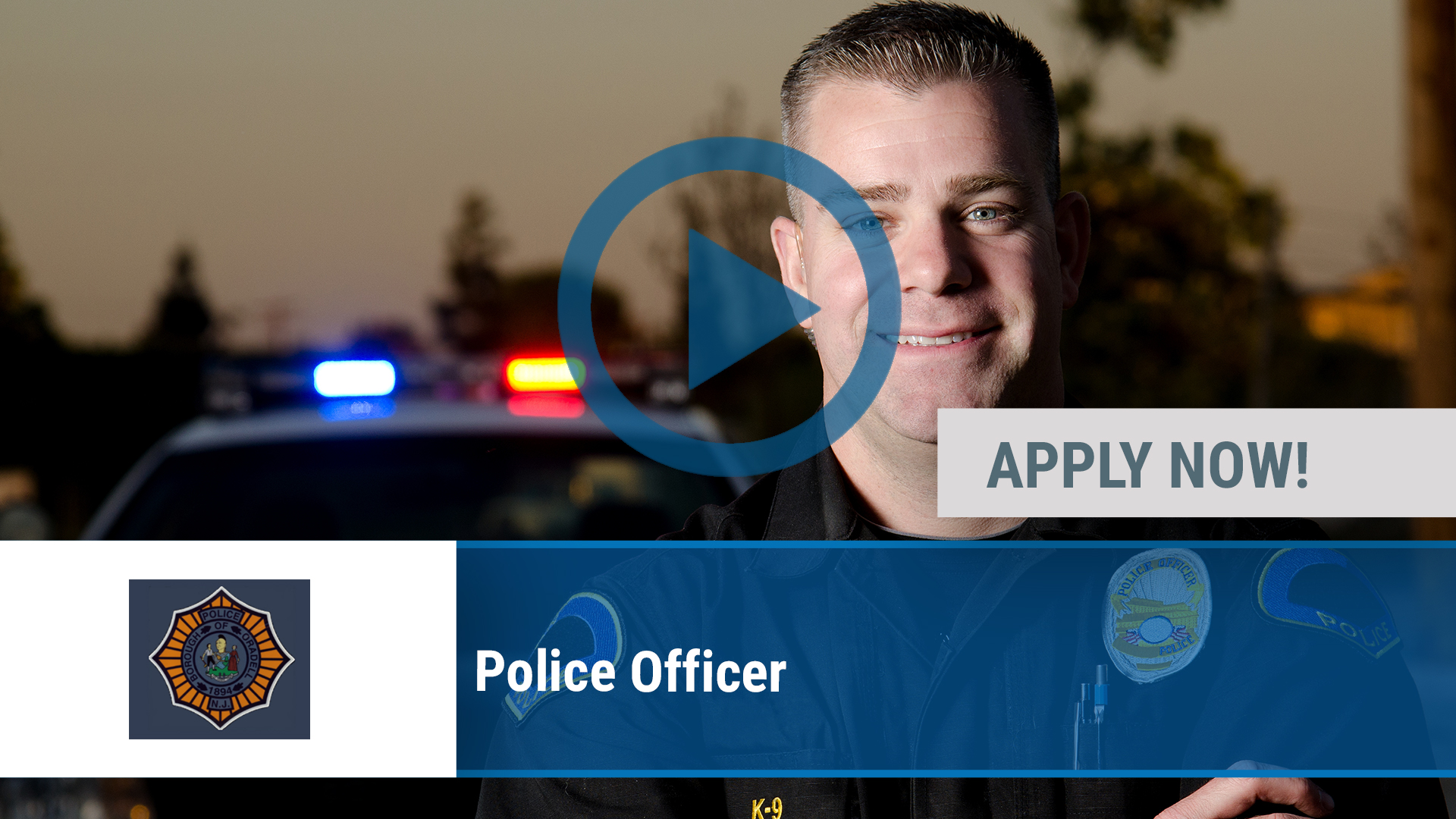 Watch our careers video for available job opening Police Officer in Oradell, NJ