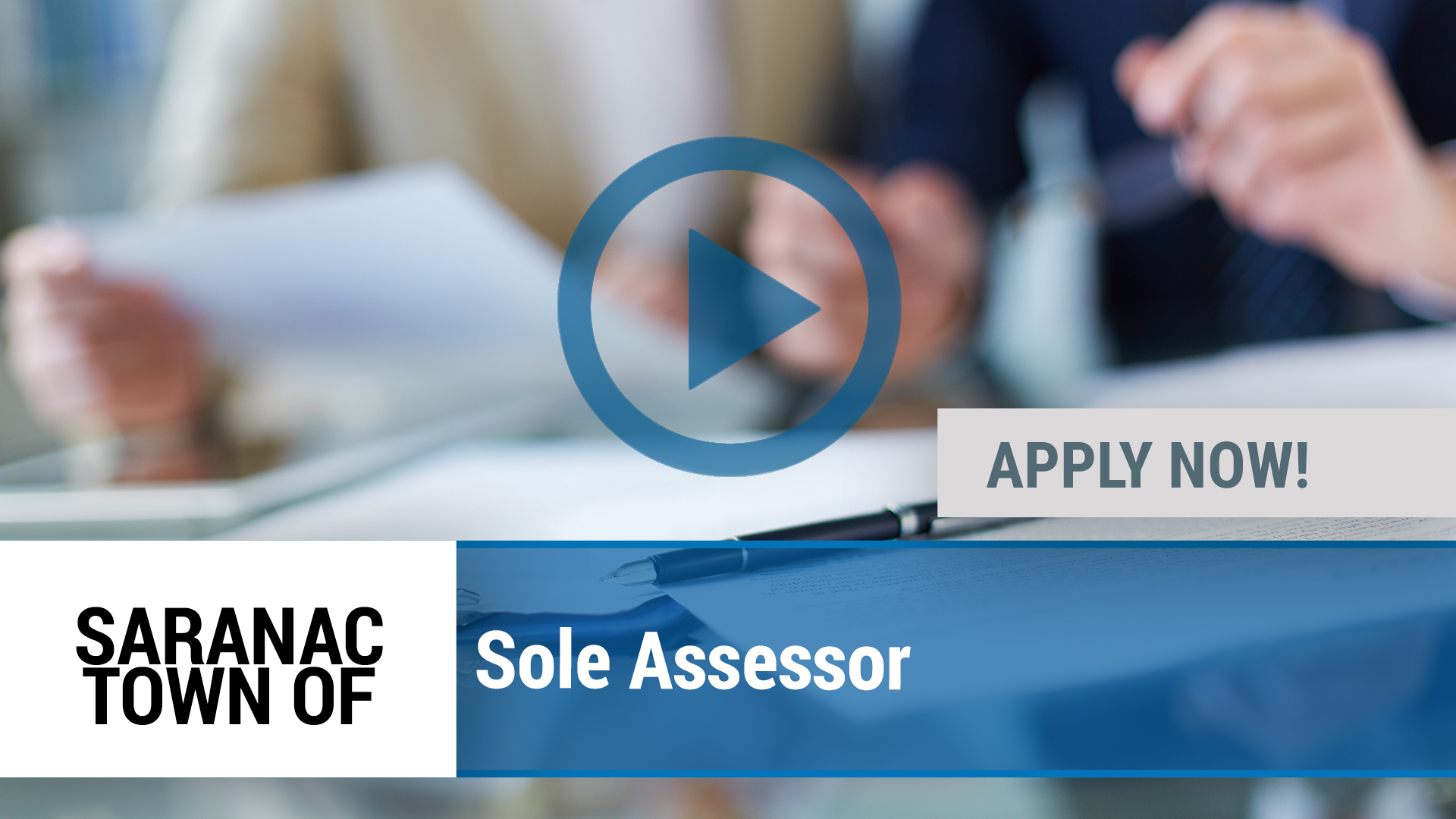 Watch our careers video for available job opening Sole Assessor in Saranac, NY