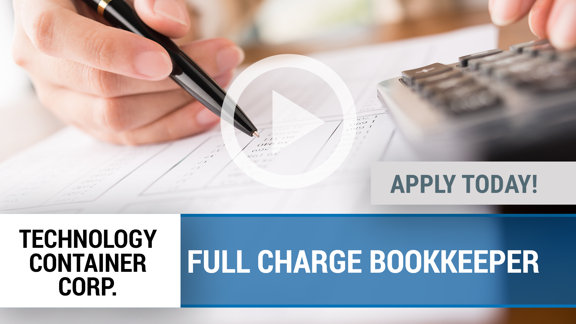 Watch our careers video for available job opening FULL CHARGE BOOKKEEPER in Desoto, TX