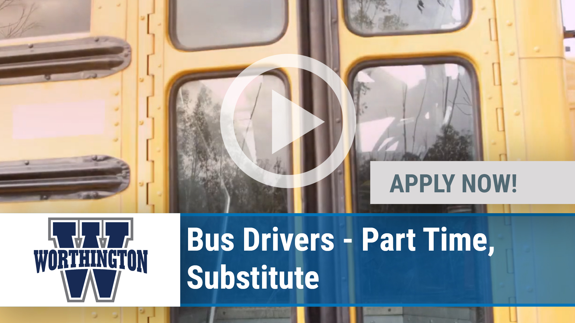Watch our careers video for available job opening Bus Drivers - Part Time, Substitute in Worthington, OH
