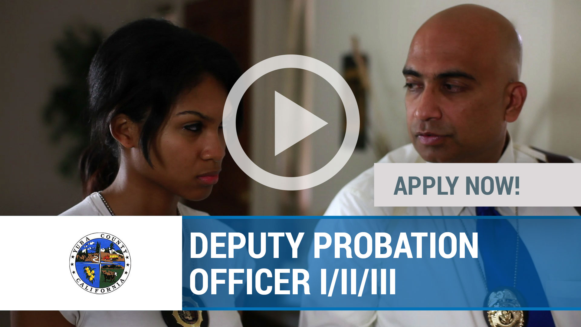 Watch our careers video for available job opening DEPUTY PROBATION OFFICER I_II_III in Marysville, CA, USA